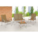 Conjunto Alumínio Namoradeira+2 Cadeiras+mesa Varanda Rattan