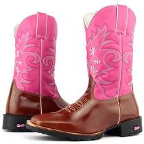 Bota Country Feminina Texana Rosa Em Couro Bico Quadrado