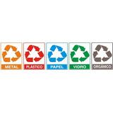 5 Placas De Sinalizacao Tipo De Lixo Reciclavel 15x20 Cm