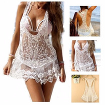 Saída De Praia Banho Piscina Super Sexy Mini Vestido Rendado