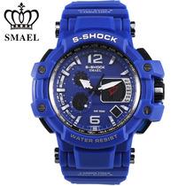 Relógio Smael S-shock Dual Time Masculino Esporte Azul