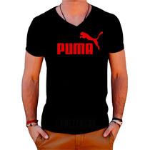 Camiseta Puma - Gola V - 100% Algodão - Personalizada - Top