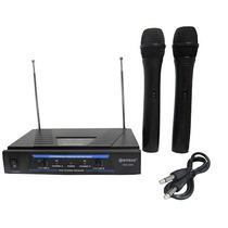 Microfone Sem Fio Duplo Wireless Uhf Karaokê Igreja Kit 2