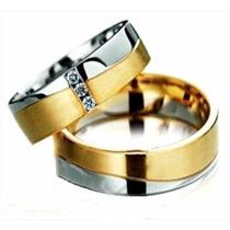 Par De Alianças Ouro Branco Amarelo 18k 6mm 14gr 3 Diamantes