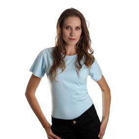 Blusa Feminina Camiseta Baby Look Lisa Manga Curta Algodão