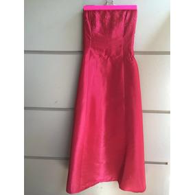 Vestido De Fiesta Strapless Talle Xs. Color Coral/fucsia