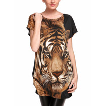 Tsuki Moda Asiatica: Blusa Bluson Tigre Holgado Casual Sexy