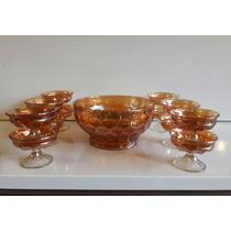 Hermoso Antiguo Juego De Compotera Y 12 Copas Carnival Glass