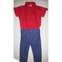 Conjunto Body Camisa Social Com Calça Jeans Bebê 0-1ano