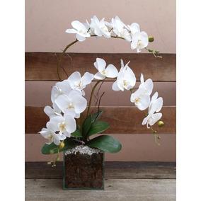 Arranjo Artificial Orquídea Phalaenopsis 3 Galhos Vaso Vidro