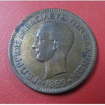Grecia Moneda 10 Leptas Vf+ 1869 B B