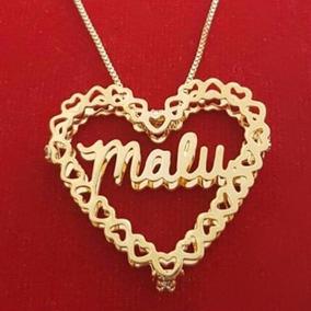 Colar Mandala De Coração Nome Personalizado Folheado