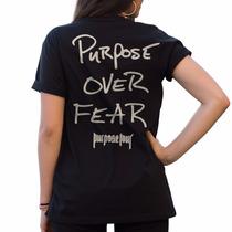Camiseta Feminina Justin Bieber Purpose Over Fear Brasil