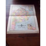 Antiguo Mapa Provincia De Buenos Aires Peuser 1950 La Plata