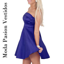 Hermoso Vestido Fiesta Corto Straples Rebajado Moda Pasión