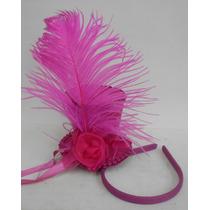 Mini Cartola Cabaré Cetim Pink Pluma Tiara - 9 Cm De Altura
