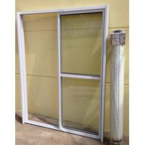 Puerta Ventana Balcon Aluminio Con Cortina Pvc Ref. 120x200
