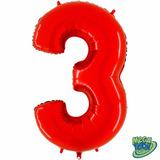 Balão Metalizado Número 3 Vermelho 14 Polegadas - Aprox.35cm