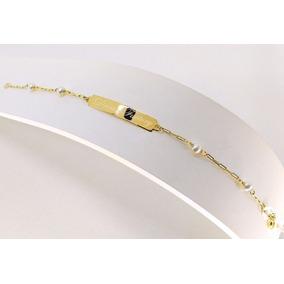 Pulseira Chapinha Bebê Ouro 18k 750 Pérolas 3mm Com Gravação