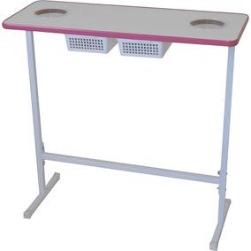 Mesa Para Manicure Tampo Em M D F Com 2 Gavetas - Pink