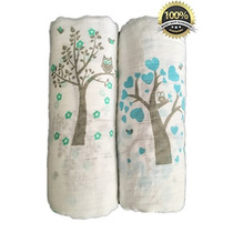 Muslin Swaddle Blankets 2 Pack - Seben Baby - 47 X 47 - 10