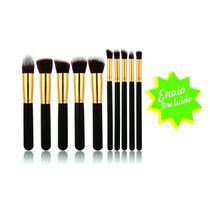 Set 10 Brochas Kabuki Tipo Sigma Oro Con Negro Y Envío