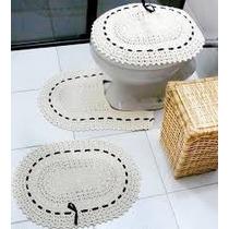 Jogo De Banheiro Em Crochê 3pcs - 100% Algodão * Atacado