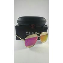 Óculos De Sol Aviador Feminino Original Feidu Sunglasses.