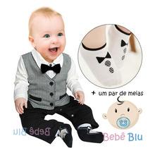 Bebê Macacão Terno Casamento + Meia Gravata Smoking Enxoval