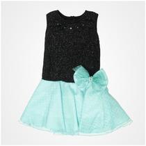 Vestido De Fiesta Para Niña Gerat Color Negro Con Menta