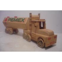 Trailer Pipa Pemex - Camioncito De Juguete - Camion D Madera