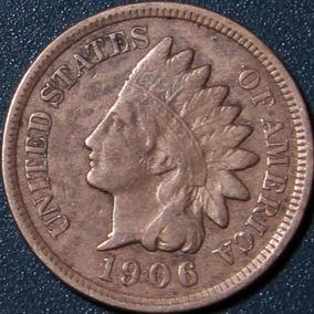 Un Centavo 1906 Eeuu Cabeza Indio Cobre Rara Buen Estado Ipu