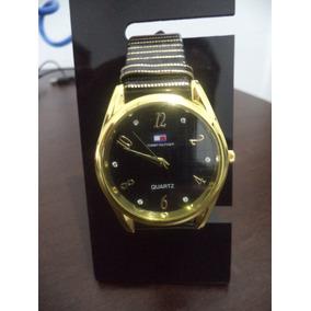 Relógio Feminino Coroa Dourado Redondo Visor Preto