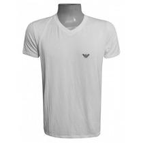 Camisa Empório Armani Branca Elastano Gola V