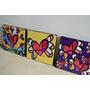 3 Cuadros Abstractos Britto Lichtenstein Flores 30x30 Cm