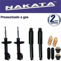 4 Amortecedores Nakata + Kits Celta Prisma 2003 A 2011 A Gás