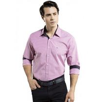 Camisa Masculina Slim Fit Listrada Pink Buon Giorno Fabiano