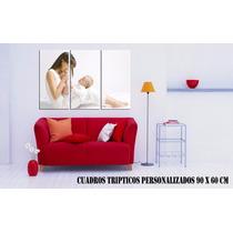 Cuadro Triptico Personalizado C/ Tu Foto. Fotocuadro 90 X 60