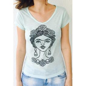Blusa Feminina Manga Curta Fridoca Frida Kahlo Verde