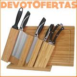 Set Cuchillos Acero Aleman Santoku Hachuela Taco Tabla 7pz