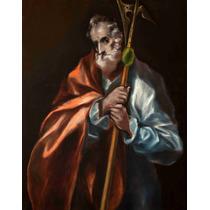 Lienzo Tela San Judas Tadeo Apostol Greco Arte Sacro 70x50cm