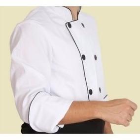 Doma/dolmã Chef De Cozinha Em Oxford Manga 3/4 Preta Branca