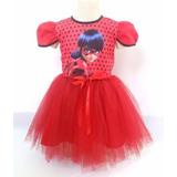 Vestido Infantil Festa Ladybug Bailariana Fantasia