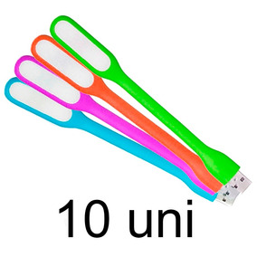 Kit 10 Luminária Usb Led Flexível Colorida Pc Mac Notebook