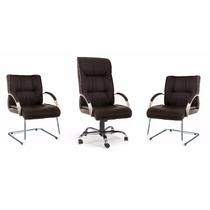 Kit Cadeira Zeus Escritório: Presidente E 2 Cadeiras Fixas