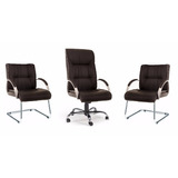 Kit Cadeira Zeus Escritório: 1 Presidente E 2 Cadeiras Fixas