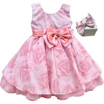 Vestido Infantil Festa Infantil Luxo Rosa Floral Com Tiara