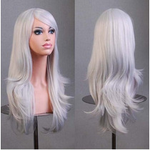 Peluca Kanekalon Cosplay Japonsa Lolita Blanca Plata 70cm