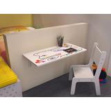 Mesa De Estudo Infantil Dobrável Com Cadeira Criança 70x40