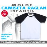 Molde Camiseta Infantil Raglan Manga Curta
